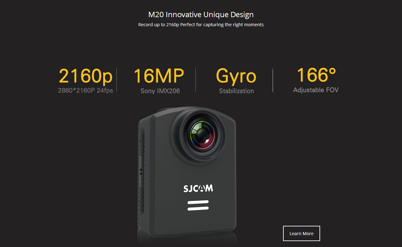 SJCAM M20 Sony IMX206 16MP 2160P Gyro Action Camera Listed on SJCamHD.com