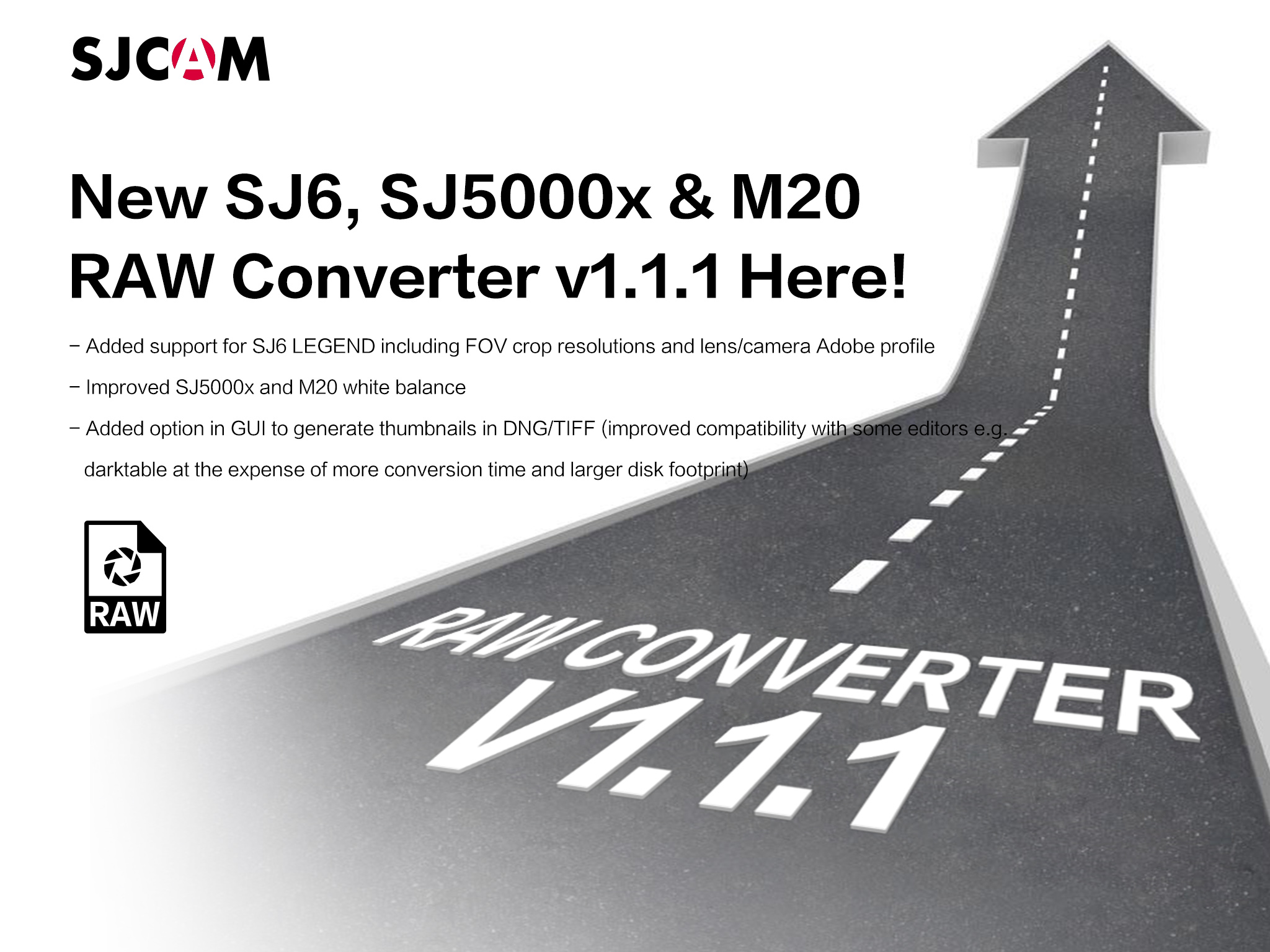 SJCAM SJ6 Legend, SJ5000x, M20 RAW v1.1.1 Converter Tool Released!
