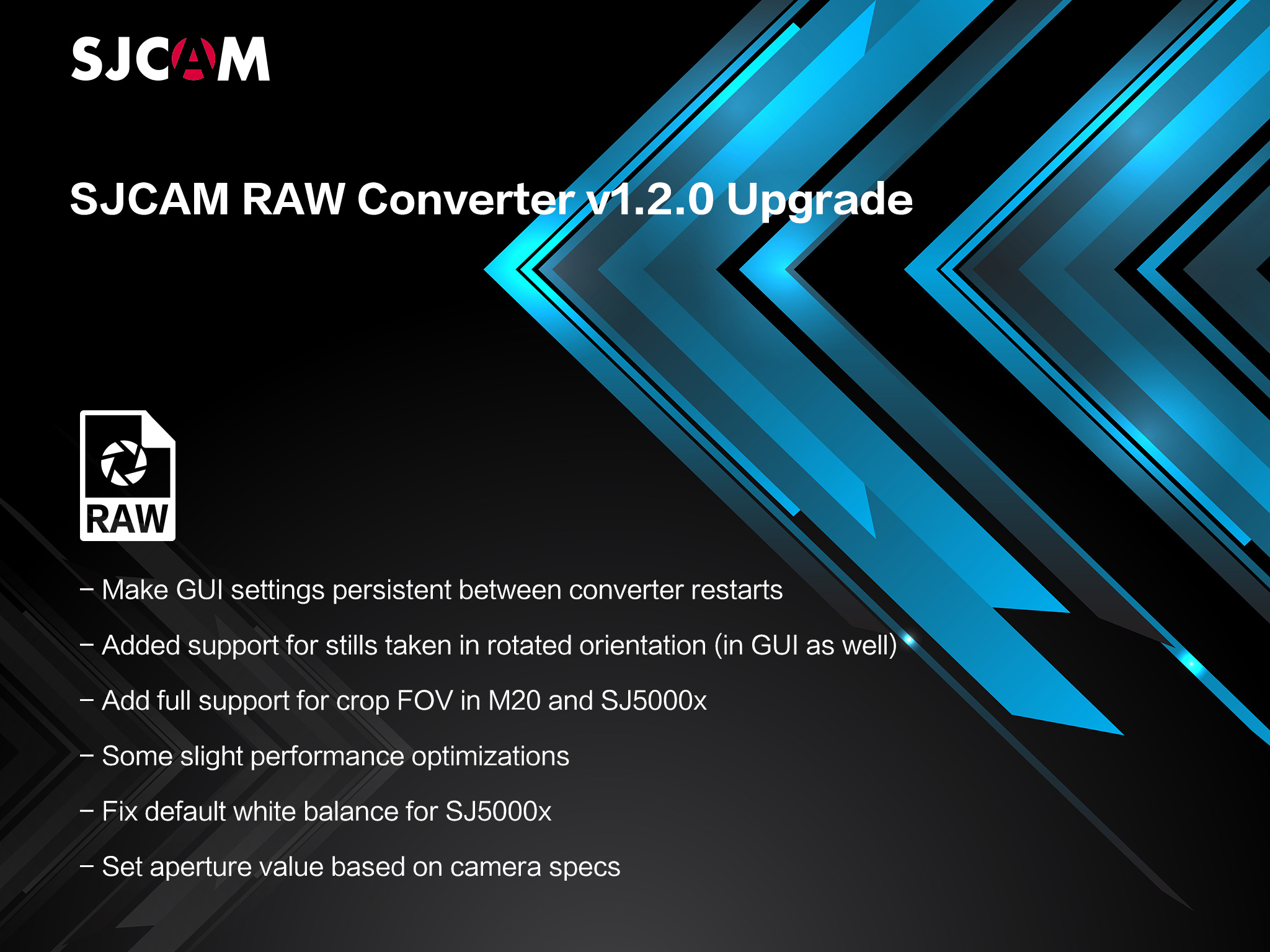 SJCAM v1.2.0 RAW Converter Tool for SJ6 Legend, SJ5000x, M20 Here!