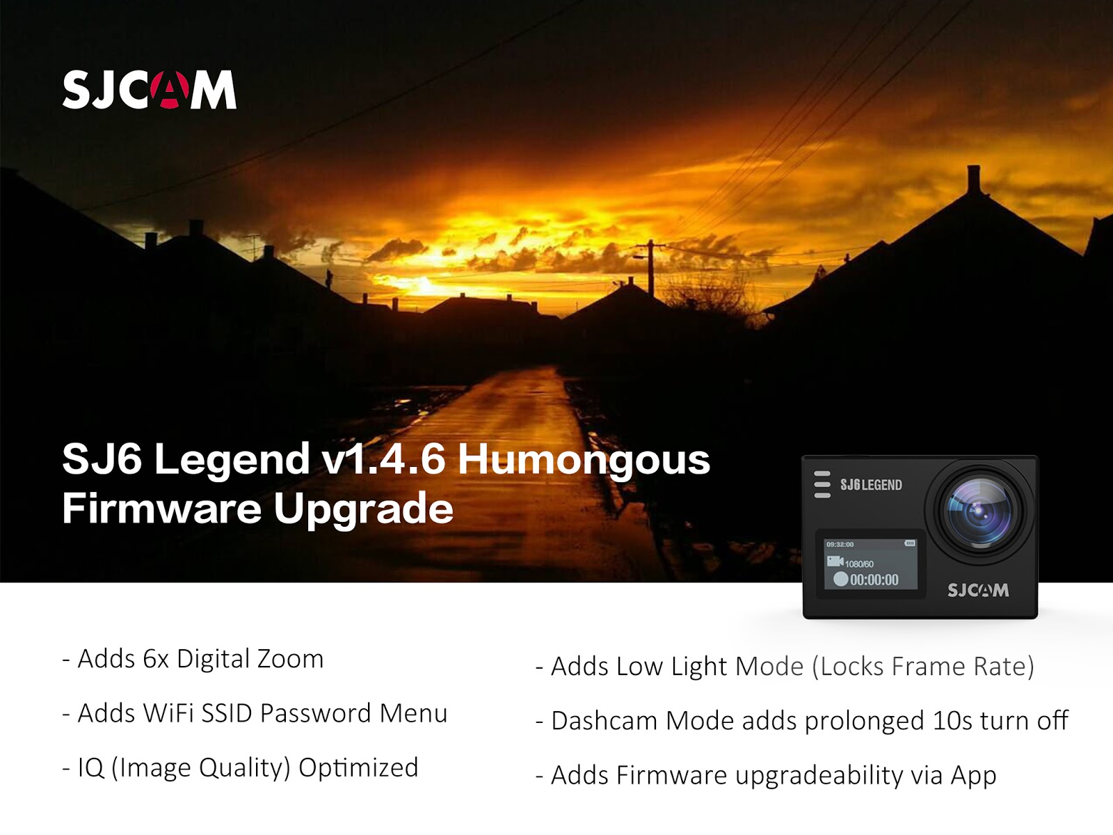 SJCAM SJ6 Legend 4K Action Camera v1.4.6 Firmware Upgrade